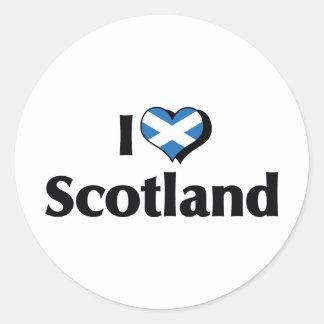 Amo la bandera de Escocia Pegatina Redonda