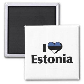 Amo la bandera de Estonia Imán Cuadrado