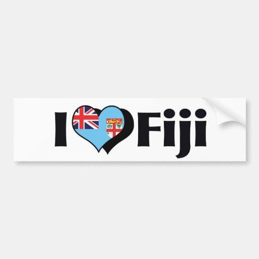 Amo la bandera de Fiji Pegatina Para Auto