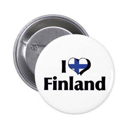 Amo la bandera de Finlandia Pin Redondo 5 Cm