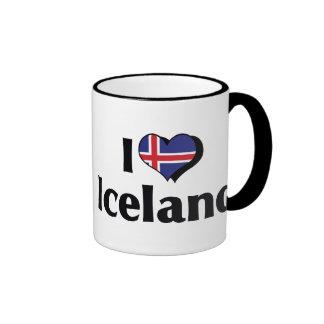 Amo la bandera de Islandia Taza A Dos Colores