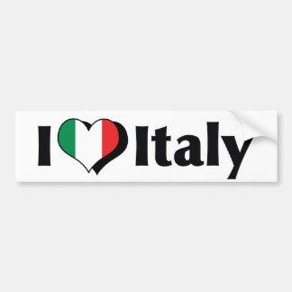 Amo la bandera de Italia Etiqueta De Parachoque