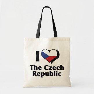 Amo la bandera de la República Checa Bolsa Tela Barata