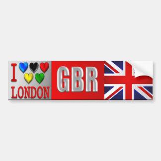 Amo la bandera de Londres GBR Gran Bretaña Union J Etiqueta De Parachoque
