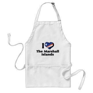 Amo la bandera de Marshall Islands Delantales