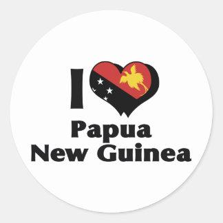 Amo la bandera de Papúa Nueva Guinea Pegatina Redonda