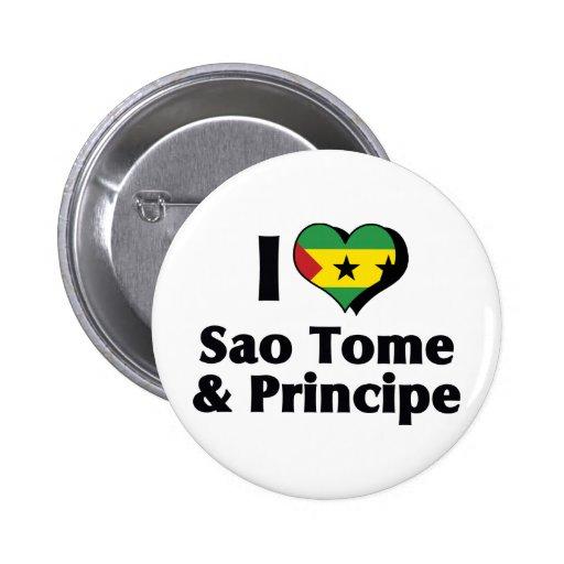 Amo la bandera de Sao Tome and Principe Pin Redondo De 2 Pulgadas