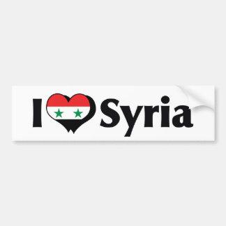 Amo la bandera de Siria Etiqueta De Parachoque