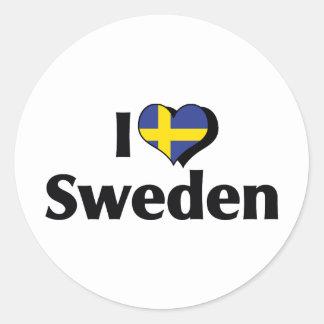 Amo la bandera de Suecia Pegatina