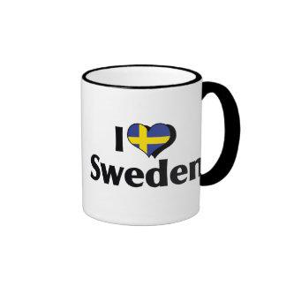Amo la bandera de Suecia Taza De Dos Colores