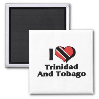 Amo la bandera de Trinidad and Tobago Imán Cuadrado