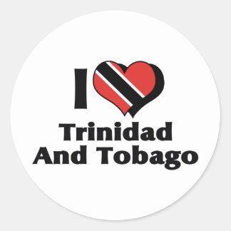 Amo la bandera de Trinidad and Tobago Pegatina Redonda