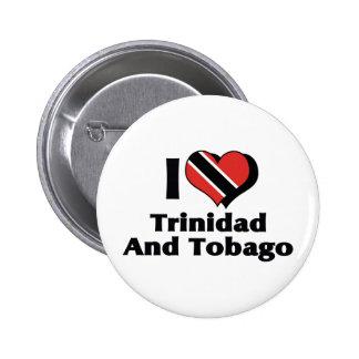 Amo la bandera de Trinidad and Tobago Pin Redondo De 2 Pulgadas
