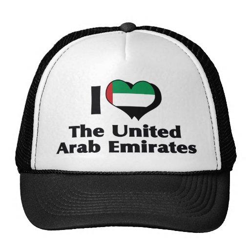 Amo la bandera de United Arab Emirates Gorras De Camionero