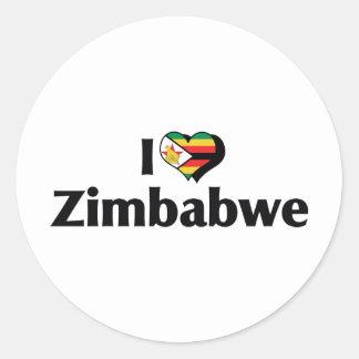Amo la bandera de Zimbabwe Pegatina Redonda