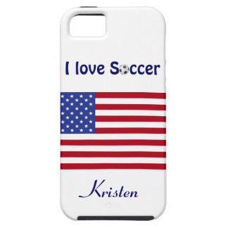 Amo la bandera del fútbol/del fútbol Ball-U.S. +No iPhone 5 Case-Mate Coberturas