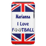 Amo la bandera del fútbol/del fútbol Balls-U.K. Case-Mate iPod Touch Fundas