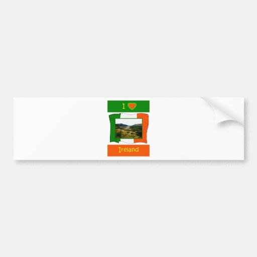 Amo la bandera Kerry Irlanda WhiteBackground3 de I Pegatina Para Auto