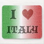 Amo la bandera Mousepad del vintage de Italia Alfombrillas De Raton