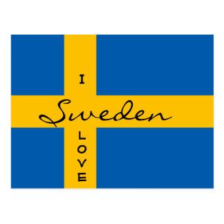 Amo la bandera sueca Svensk Flagga de Suecia Tarjetas Postales