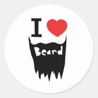 Amo la barba pegatina redonda