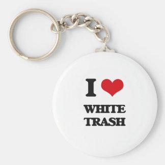 Amo la basura blanca llavero redondo tipo chapa