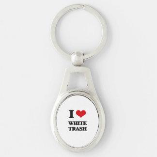 Amo la basura blanca llavero plateado ovalado