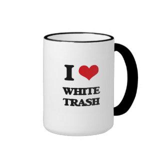 Amo la basura blanca taza a dos colores