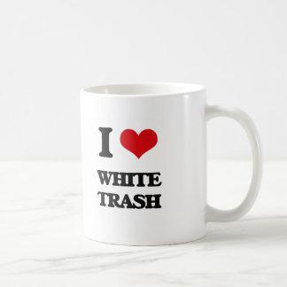 Amo la basura blanca taza básica blanca
