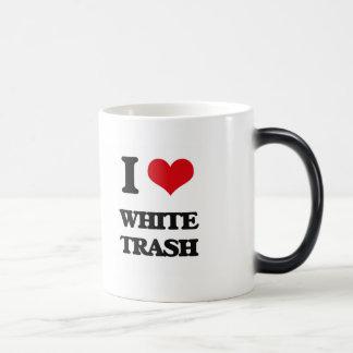 Amo la basura blanca taza mágica