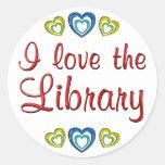 Amo la biblioteca pegatina