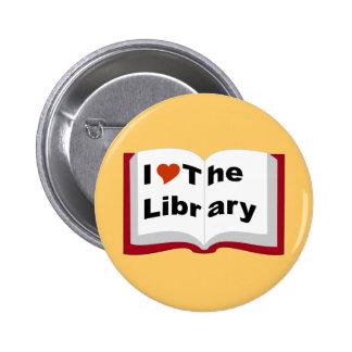 Amo la biblioteca pin redondo 5 cm