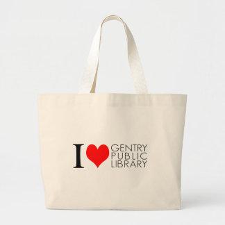 Amo la biblioteca pública de la burguesía alta bolsa de mano