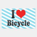 Amo la bicicleta rectangular pegatinas