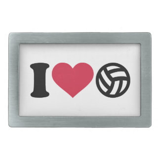 Amo la bola del voleibol hebillas cinturon rectangulares