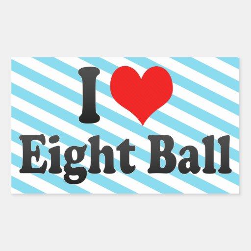 Amo la bola ocho pegatina rectangular