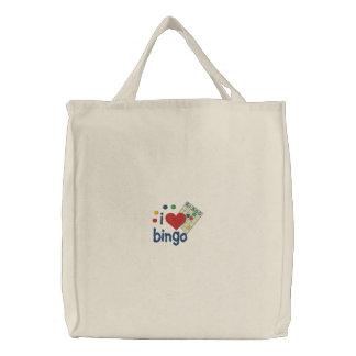 Amo la bolsa de asas bordada bingo