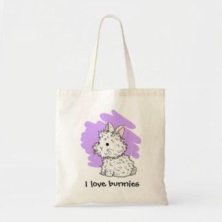 Amo la bolsa de asas de los conejitos - lila