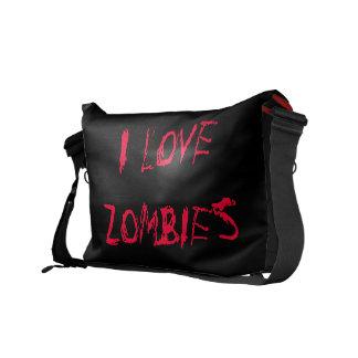 Amo la bolsa de mensajero de los zombis bolsas messenger