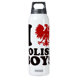 Amo la botella polaca de la bebida del agua de la