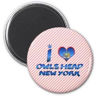 Amo la cabeza de los búhos, Nueva York Imán Redondo 5 Cm