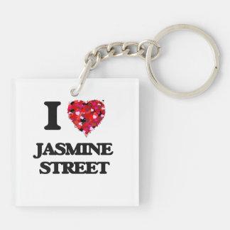Amo la calle la Florida del jazmín Llavero Cuadrado Acrílico A Doble Cara