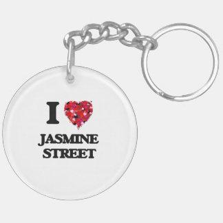 Amo la calle la Florida del jazmín Llavero Redondo Acrílico A Doble Cara