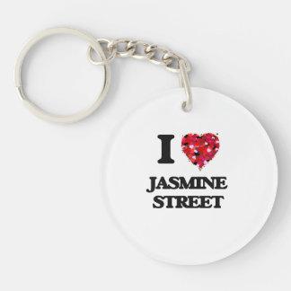 Amo la calle la Florida del jazmín Llavero Redondo Acrílico A Una Cara