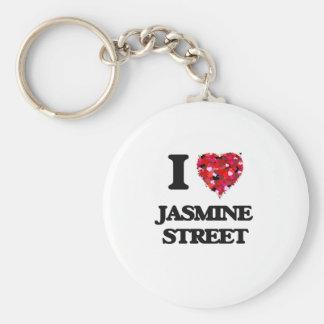 Amo la calle la Florida del jazmín Llavero Redondo Tipo Pin