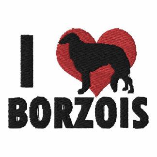 Amo la camisa de manga larga bordada los Borzois
