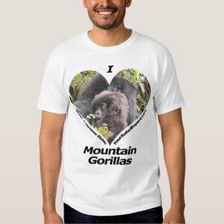 Amo la camiseta 2 de los gorilas de montaña remera