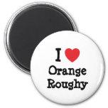 Amo la camiseta anaranjada del corazón de Roughy Iman De Nevera
