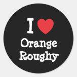 Amo la camiseta anaranjada del corazón de Roughy Pegatina Redonda