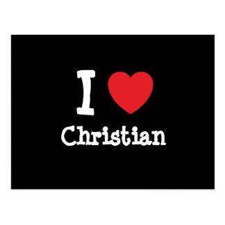 Amo la camiseta cristiana del corazón postal